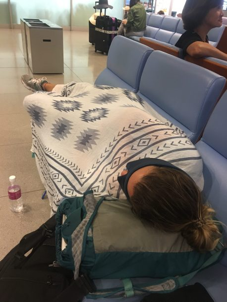 Brit sleeping in the Osaka airport