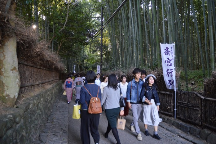 Tourists at the Bamboo Forest, Kyoto, Japan