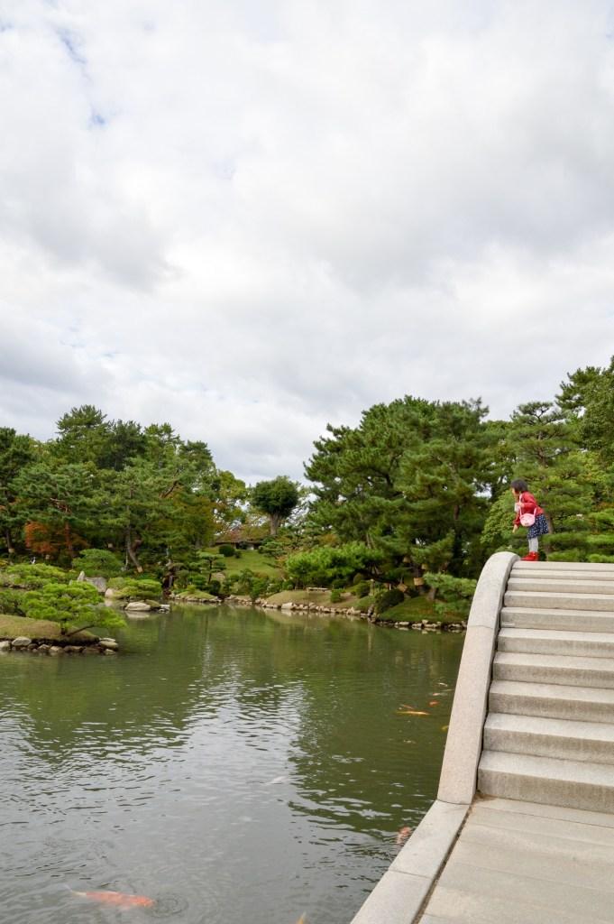 Feeding the Koi at Shukkei-en Garden, Hiroshima, Japan