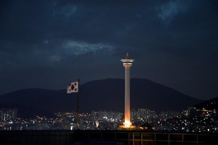 View of Busan Tower from Yongdusan Park, South Korea