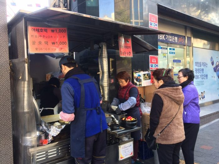 Hotteok stand in Seoul, South Korea