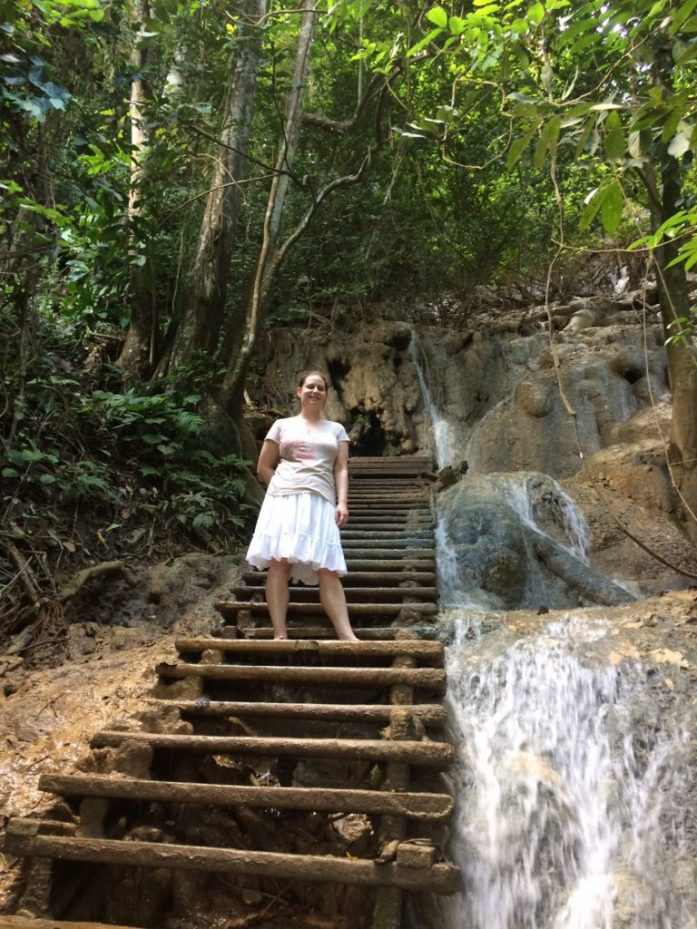 Hiking up to the top of Kuang Si Waterfall, Luang Prabang, Laos