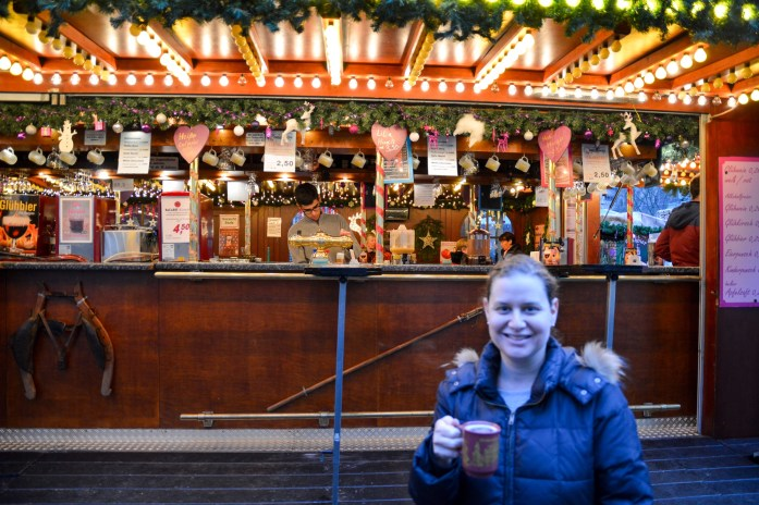 Enjoying Glühwein at the Christmas Market in Bonn, Germany