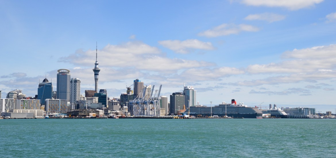 View of Auckland from Waiheke Island ferry, New Zealand