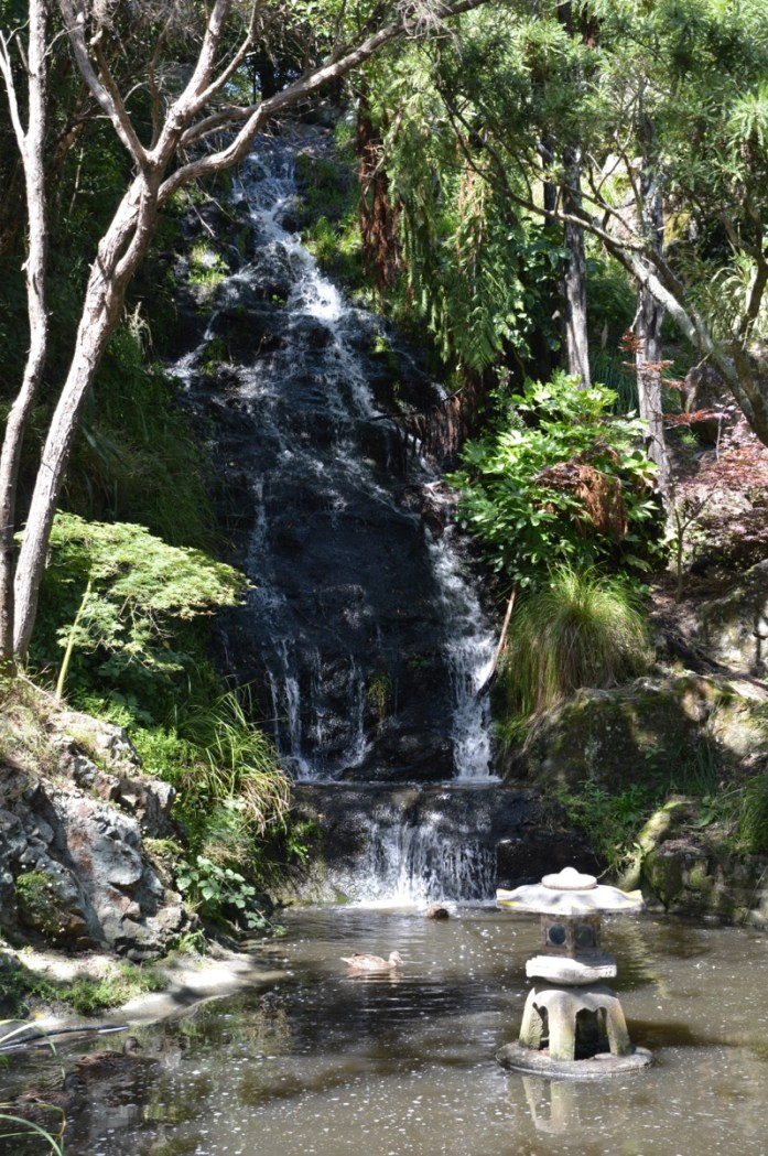 Peace Flame and waterfall, Wellington, New Zealand