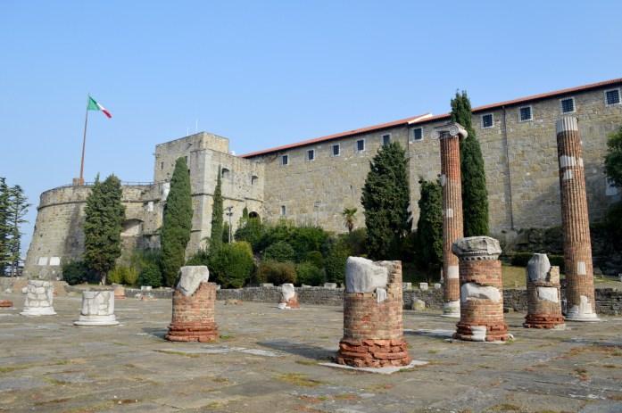 Roman ruins, San Guisto Castle, Trieste, Italy
