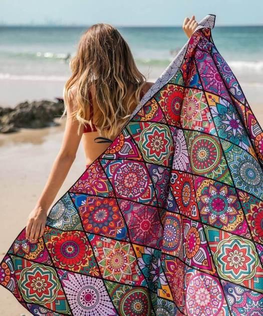 woman with tesalate towel