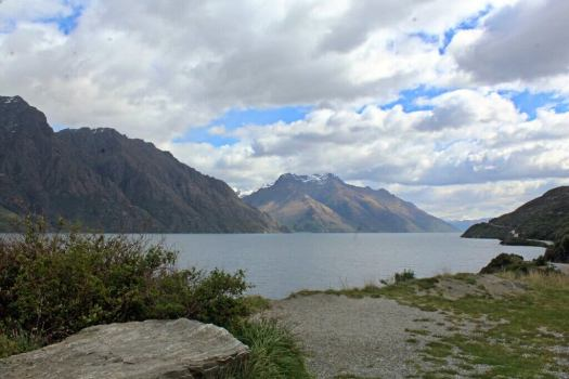 Lake views on drive to Milford Sound New Zealand