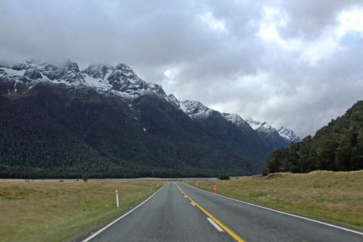View of drive to Milford Sound New Zealand