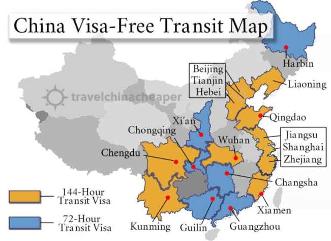 China transit visa map