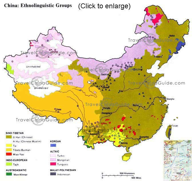 Map of Ethnicities in China