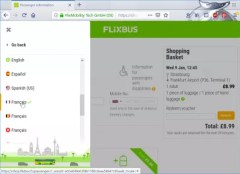 Flixbus booking review : Changing language and currency