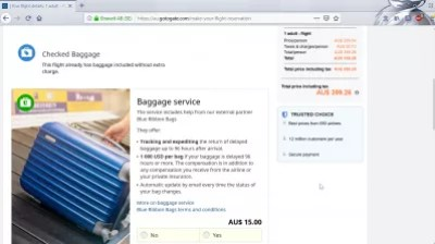 GoToGate review: is GoToGate flights booking legit? : Checked baggage service additional insurance