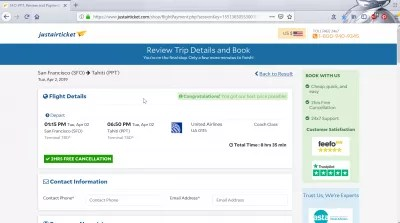 Review of JustAirTicket legit flight booking, is it good? : Flight details results