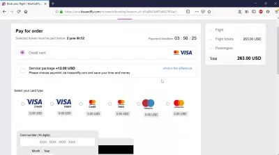 Kiss And Fly review of a flight booking : Pay for order