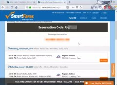Smartfares flights booking review : Reservation code and trip summary