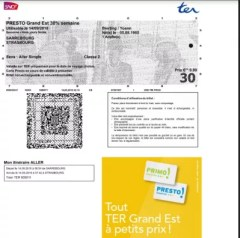 Train TER SNCF tickets booking GrandEst Strasbourg : Personal TER SNCF train ticket PDF ticket to print
