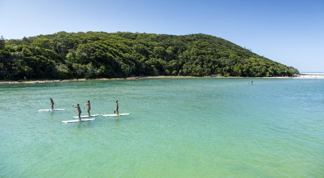 Stand up paddle boarding in Tallebudgera creek, Queensland Australia