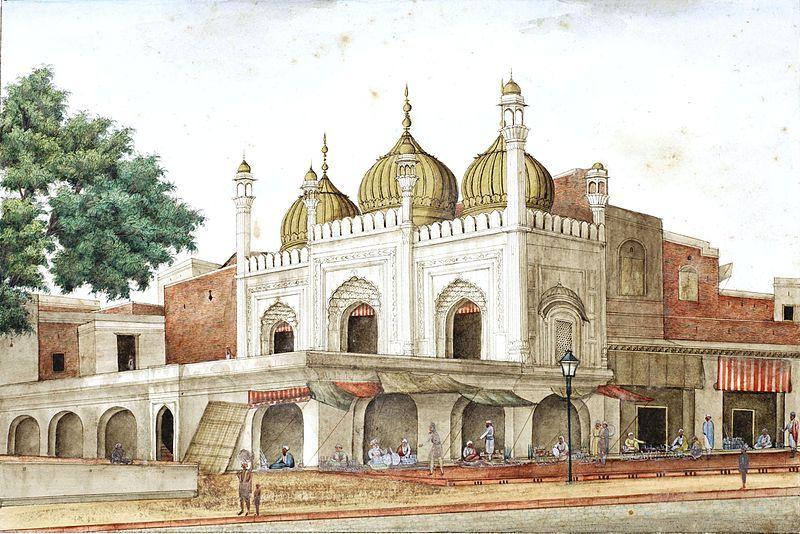 800px-The_Sunehri_Masjid_of_Roshan_ud-Dawla_at_Chandni_Chowk_in_Delhi_-_a_painting_by_Ghulam_Ali_Khan_026b