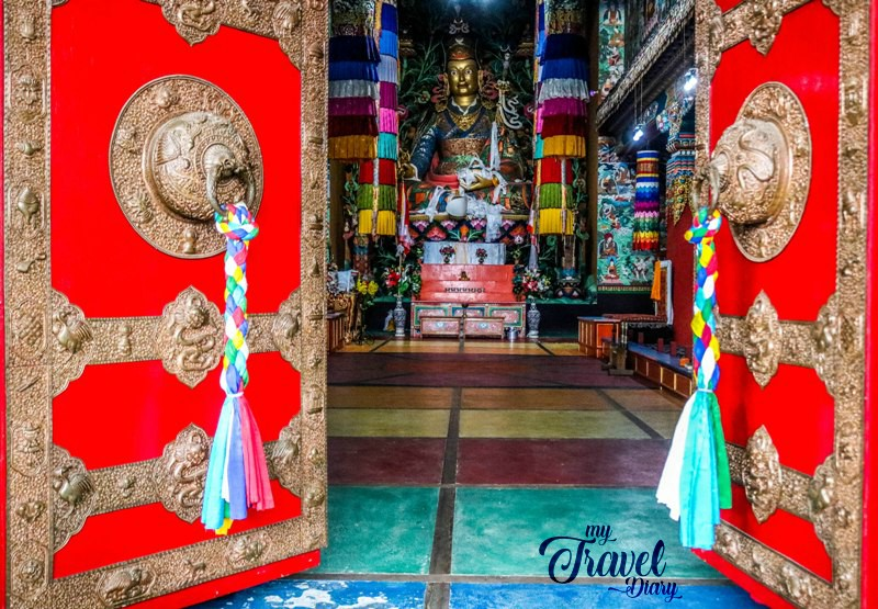 Entrance door to central prayer hall of Khinmey Monastery, Tawang, Arunachal Pradesh