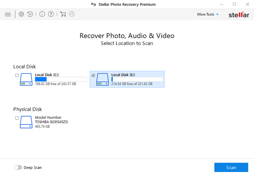 User-friendly Interface of Stellar Photo Recovery Premium software