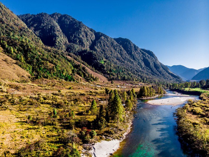Aerial view of Dri valley in Anini, Arunachal Pradesh