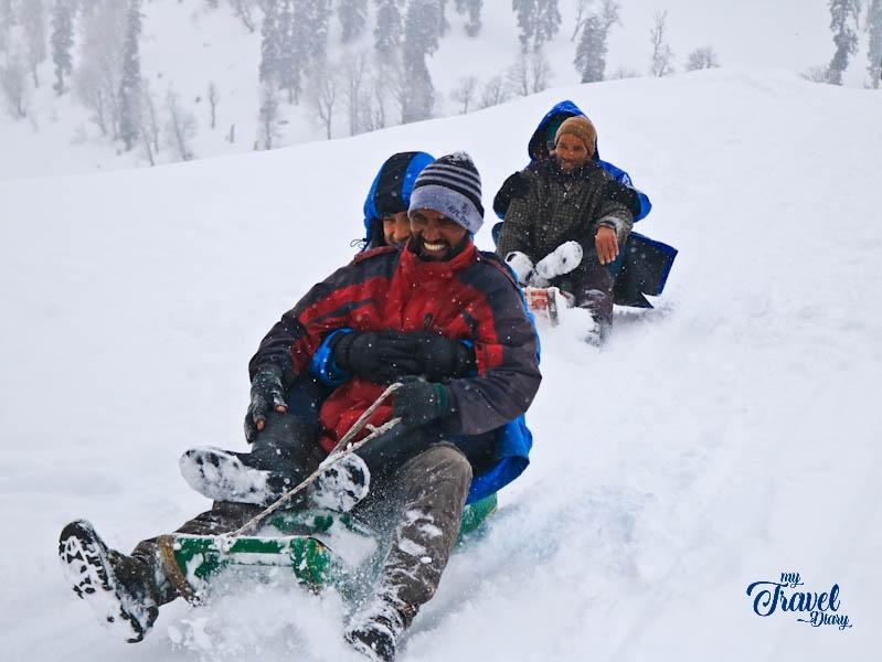 Tourists enjoying winter activity in Gulmarg