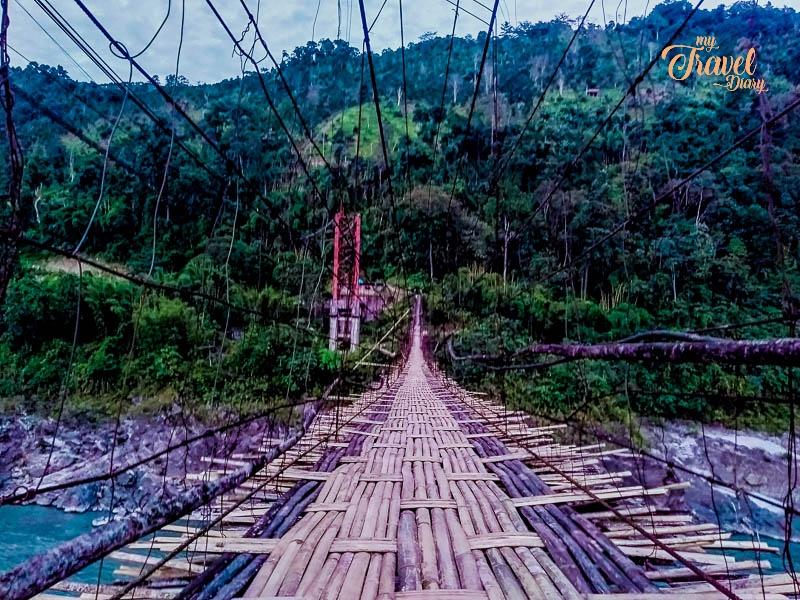 Traditional hanging bridge in Aalo