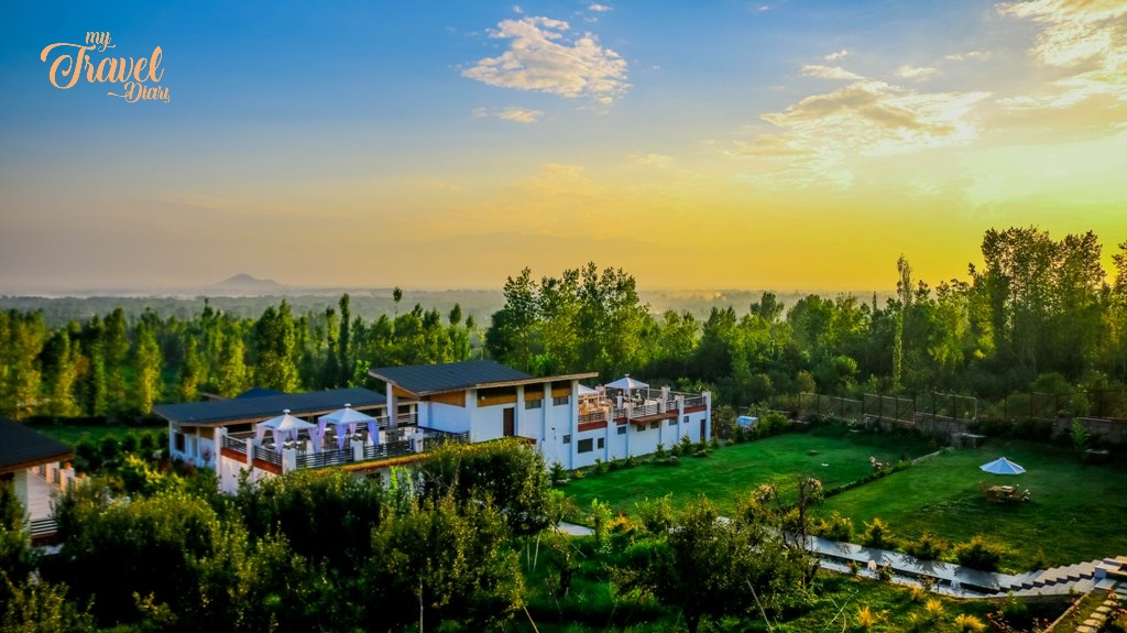 Sunset view from the balcony at Rah Bagh in Srinagar