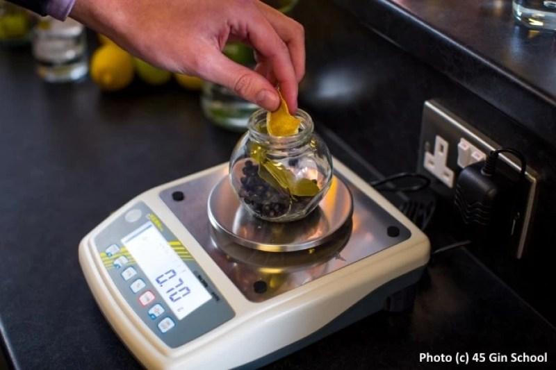 Weighing botanicals at Gin School