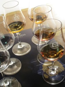 Cognac tasting glasses at the Martell cognac house in Cognac, France