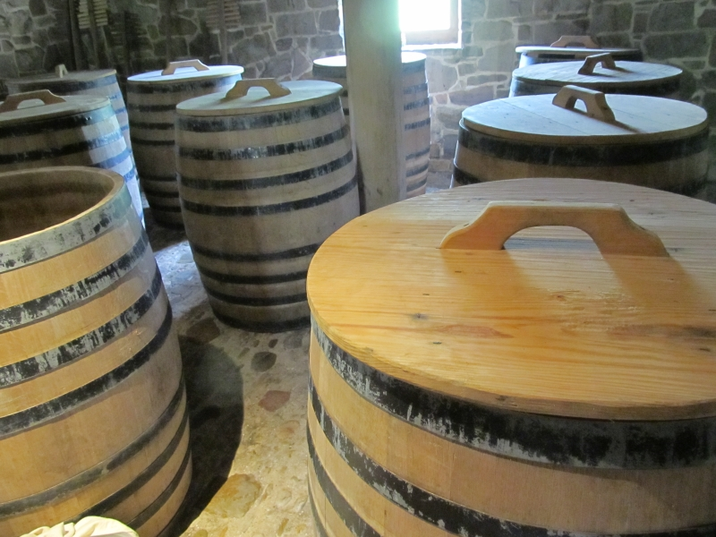 Barrels at the George Washington Distillery at Mount Vernon in Virginia, near Washington DC.