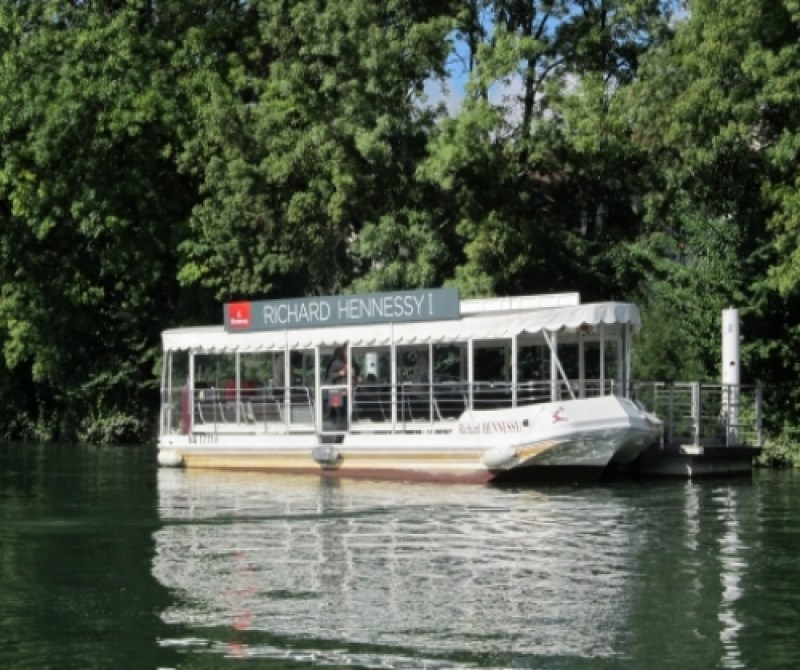 The boat of the Hennessy Cognac House on the River Charente in Cognac