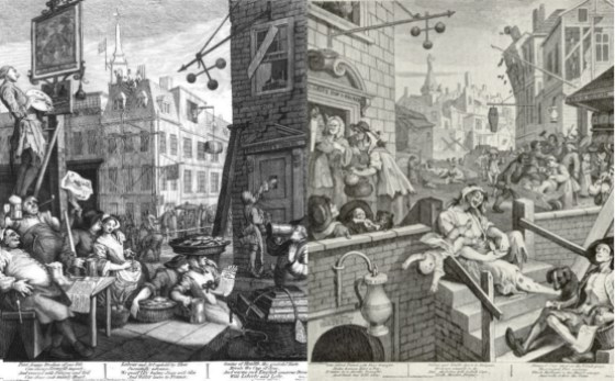 Beer Street and Gin Lane, by William Hogarth