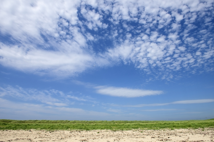 Big blue sky with clouds near the Scapa Distillery on Orkney in Scotland