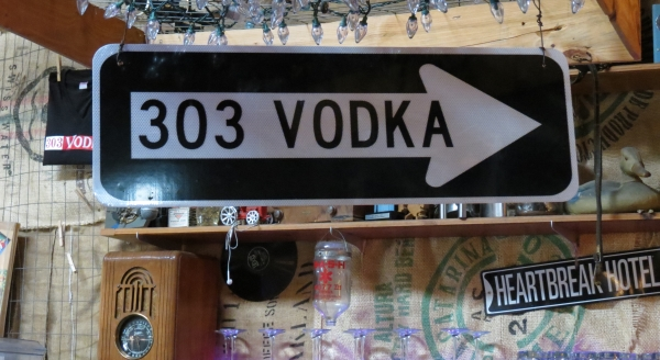 303 Vodka sign at the 303 Distillery in Boulder, Colorado