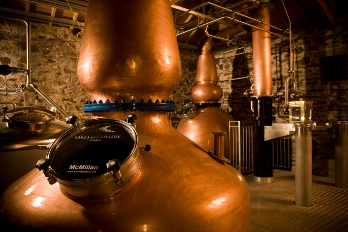 Copper stills at the Lakes Distillery in England's Lake District