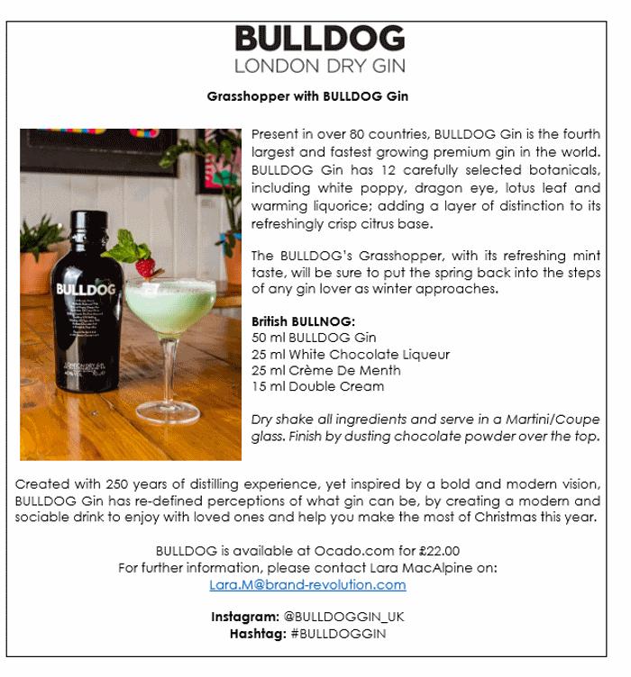 Bulldog gin grasshopper cocktail recipe