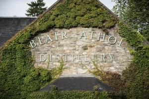 Blair Athol Distillery sign in Scotland