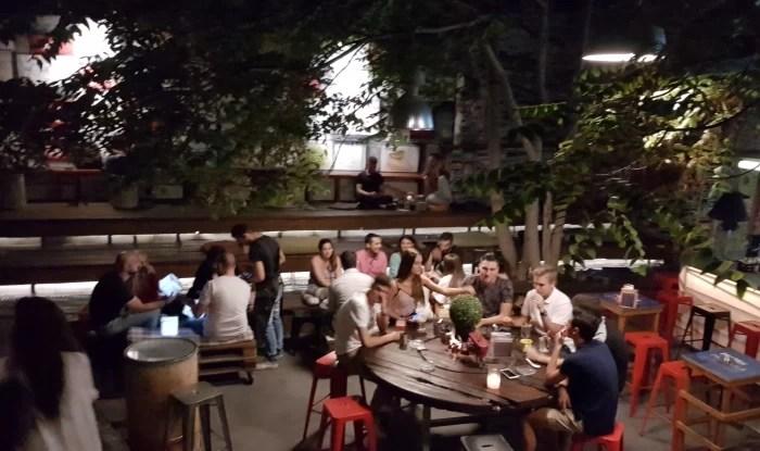 Rear outdoor patio at the MoMix Bar Kerameikos in Athens