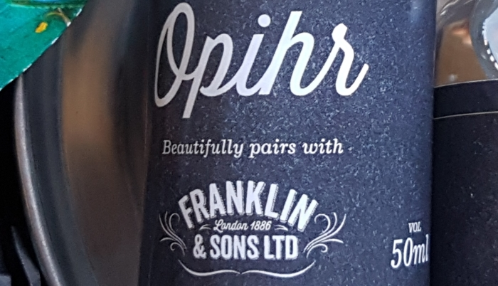 Bottle of Opihr gin for a gin and ginger ale cocktail