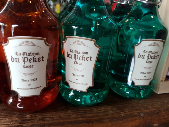 Bottles of Peket at The Maison du Peket Restaurant, also known as the Amon Nanesse Restaurant, in Liege, Belgium