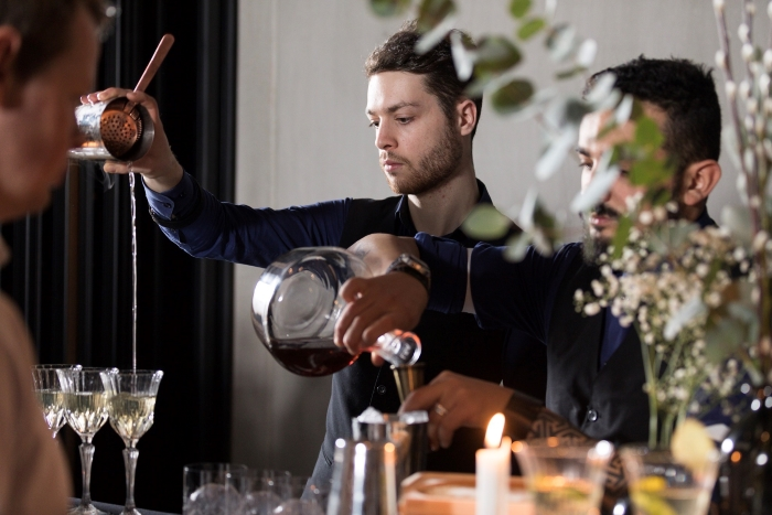 Making cocktails at the launch of the new Nouaison gin from G'Vine gin at Nobu in Shoreditch, London