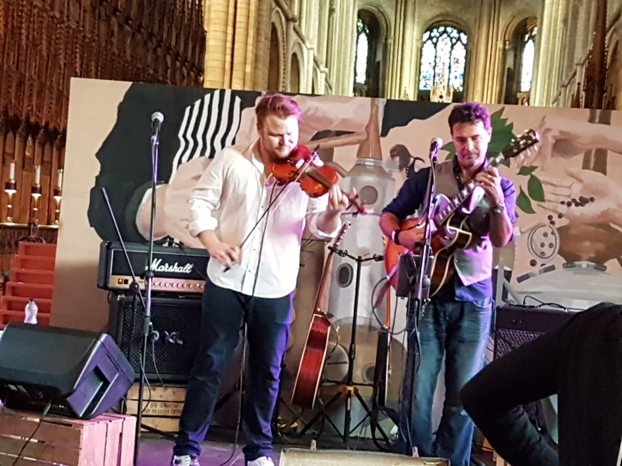 Holder and Smith gypsy jazz duo entertaining at Peterborough Gin Festival