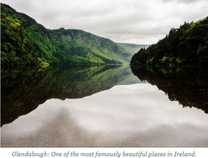 A photo of Glendalough from the book From Barley to Blarney, a guide to Ireland's whiskey distilleries.