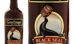 A bottle of Gosling's Black Seal Bermuda Black Rum alongside the label