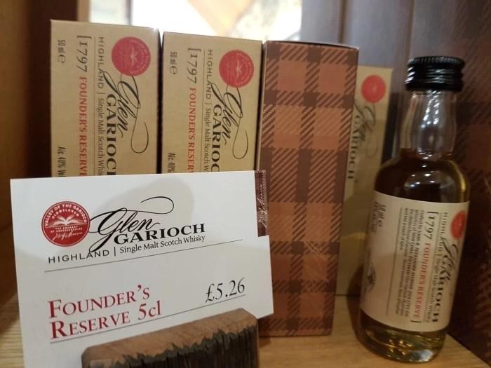 A miniature bottle of Founder's Reserve whisky at the Glen Garioch distillery in Aberdeenshire in Scotland