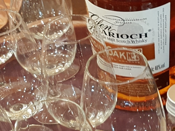 Ready for a Whisky Tasting in the Visitor Centre at the Glen Garioch Whisky Distillery in Aberdeenshire Scotland 2
