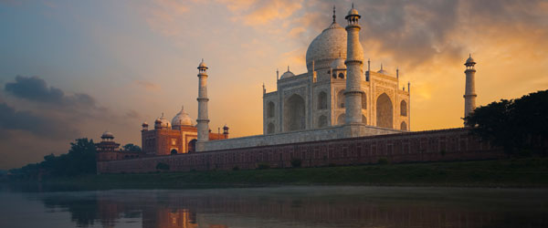 The Taj Mahal as seen from the Mentab Bagh Gardens across the river.