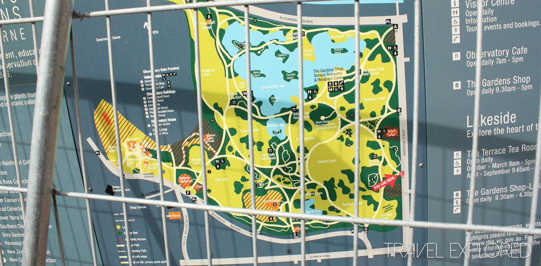 Melbourne - Botanic Gardens Map behind fence